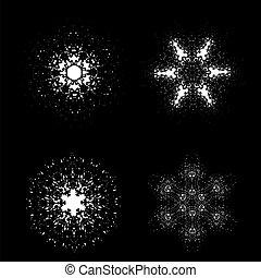 conjunto, de, copos de nieve