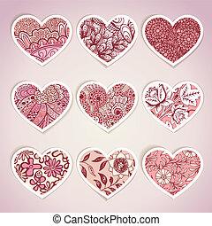 conjunto, de, corazón formó, etiquetas