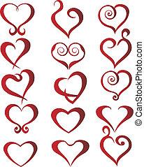 conjunto, de, corazones