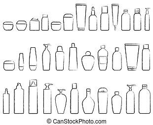 conjunto, de, cosmético, botella, silueta