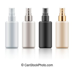conjunto, de, cosmético, botellas del aerosol