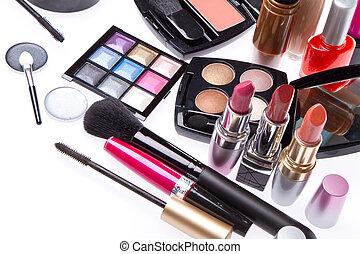 conjunto, de, cosmético, maquillaje, productos