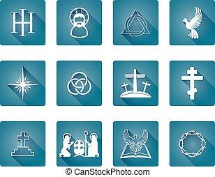 conjunto, de, cristiano, iconos