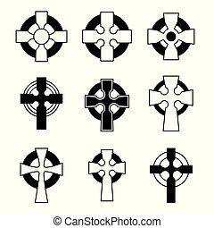 conjunto, de, cruces celtas, para, religioso, design.,...