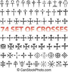 conjunto, de, cruces, lápiz, garabato