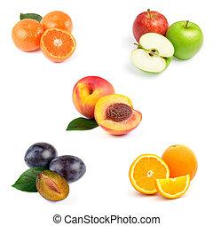 conjunto, de, crudo, jugoso, fruits, con, hojas