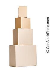 conjunto, de, cuatro, cajas