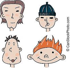 conjunto, de, cuatro, divertido, caricatura, caras