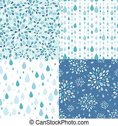 conjunto, de, cuatro, gotas de lluvia, seamless, patrones,...