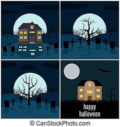 conjunto, de, cuatro, halloween, vector, ilustraciones