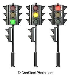 conjunto, de, cuatro, sided, semáforos, en, un, estante