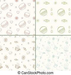 conjunto, de, cuatro, vector, seamless, patrones, con, postres, y, dulces