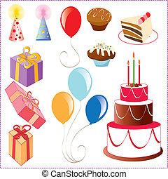 conjunto, de, cumpleaños, gráfico