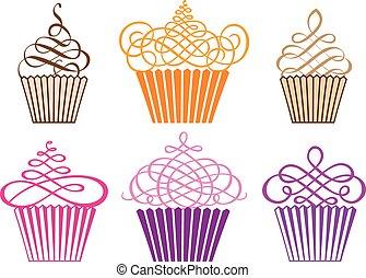 conjunto, de, cupcakes, vector