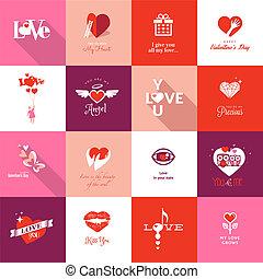 conjunto, de, día de valentines, iconos