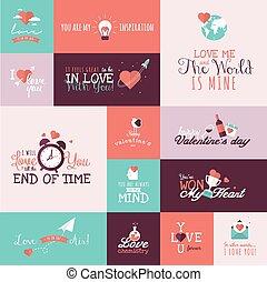 conjunto, de, día de valentines, señales