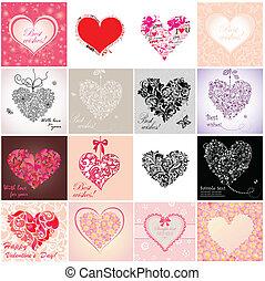 conjunto, de, día de valentines, tarjetas