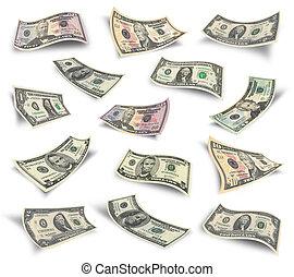 conjunto, de, dólar factura