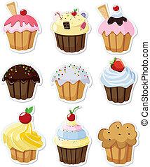conjunto, de, delicioso, cupcakes