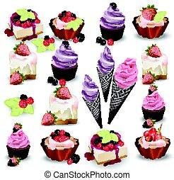 conjunto, de, delicioso, dulces, y, postres, con, fruits.,...