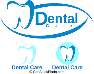 conjunto, de, dental, logotype