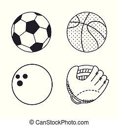 conjunto, de, deportes, icono