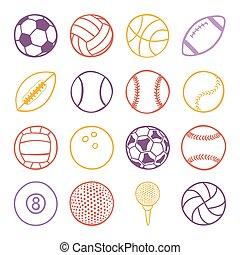 conjunto, de, deportes, pelotas
