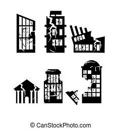 conjunto, de, destruido, edificios., hogar, después, earthquake., rascacielos, y, centro negocio, se estropeó, abajo.