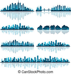 conjunto, de, detallado, ciudades, silueta