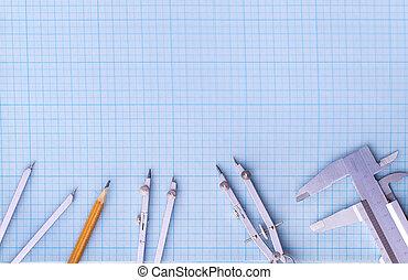 conjunto, de, dibujo, herramientas, en, el, dibujo, paper.