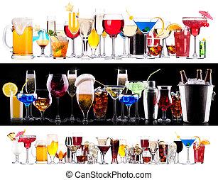 conjunto, de, diferente, bebidas alcohólicas, y, cócteles