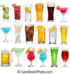 conjunto, de, diferente, bebidas, cócteles, y, cerveza