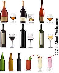conjunto, de, diferente, bebidas