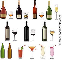 conjunto, de, diferente, bebidas, y, botellas