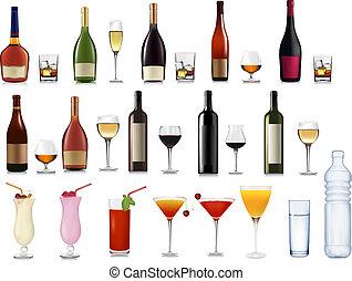 conjunto, de, diferente, bebidas, y, cócteles
