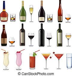 conjunto, de, diferente, bebidas, y, cocktai