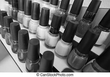 conjunto, de, diferente, botellas, de, esmalte uñas