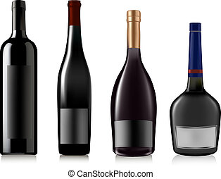 conjunto, de, diferente, bottles., vector.