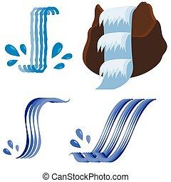 conjunto, de, diferente, cascadas, iconos