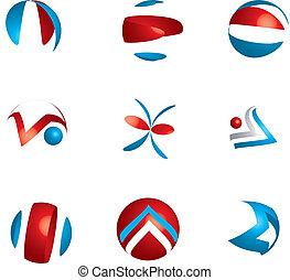 conjunto, de, diferente, clase, de, resumen, icono, símbolo