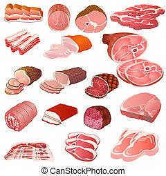 conjunto, de, diferente, clases, de, carne