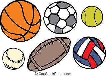 conjunto, de, diferente, deporte, balls., vector