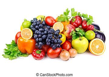 conjunto, de, diferente, frutas y vehículos, blanco, plano...