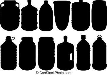 conjunto, de, diferente, grande, botellas