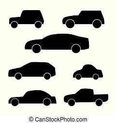 conjunto, de, differents, coche, siluetas