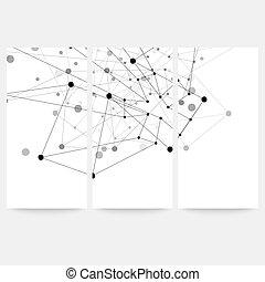 conjunto, de, digital, fondos, para, comunicación, molécula, estructura, vector, ilustración