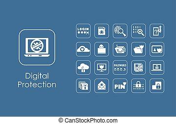 conjunto, de, digital, protección, iconos simples
