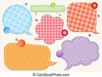 conjunto, de, discurso, burbujas