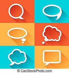 conjunto, de, discurso, burbujas, en, plano, diseño, style.