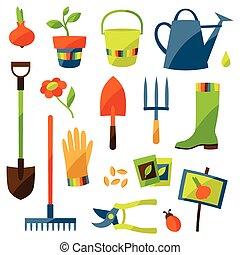 conjunto, de, diseño de jardín, elementos, y, iconos